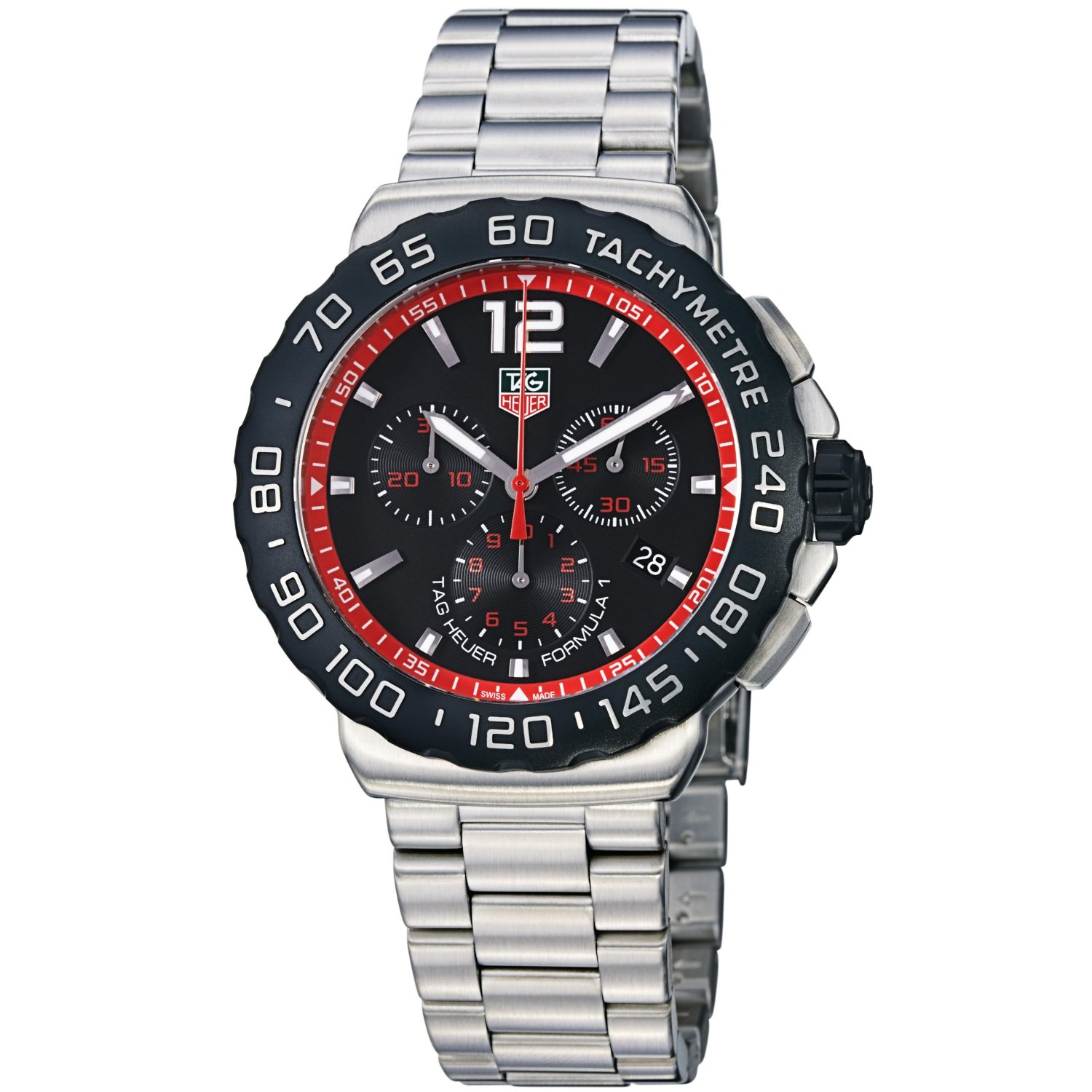 ba0858 tag heuer mens formula 1 chronograph black red dial ba0858 tag heuer mens formula 1 chronograph black red dial stainless steel watch