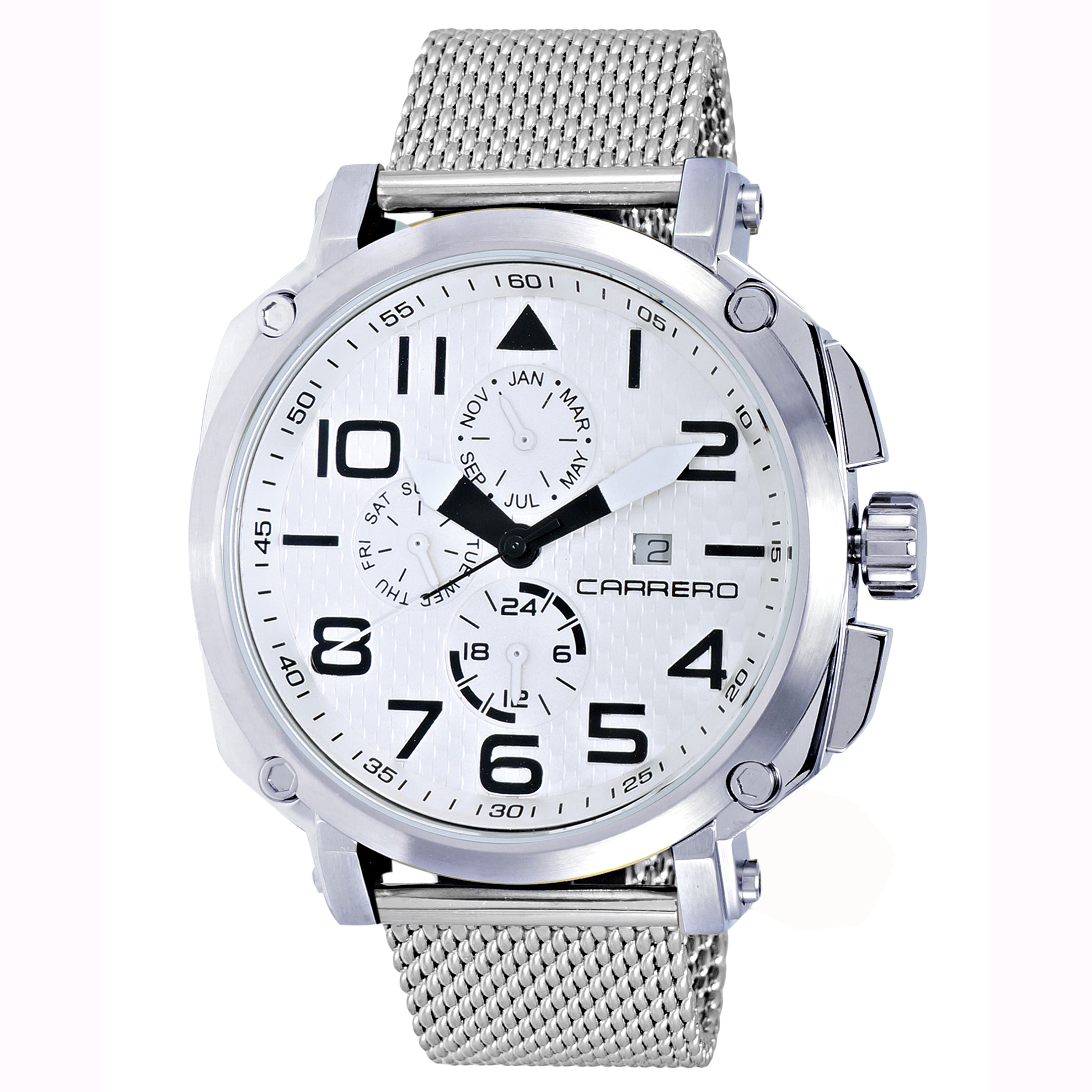 Carrero 9EA141102-WT-MESH Carrero Special Edition Swiss Triple Date White Dial Textured Mesh Band