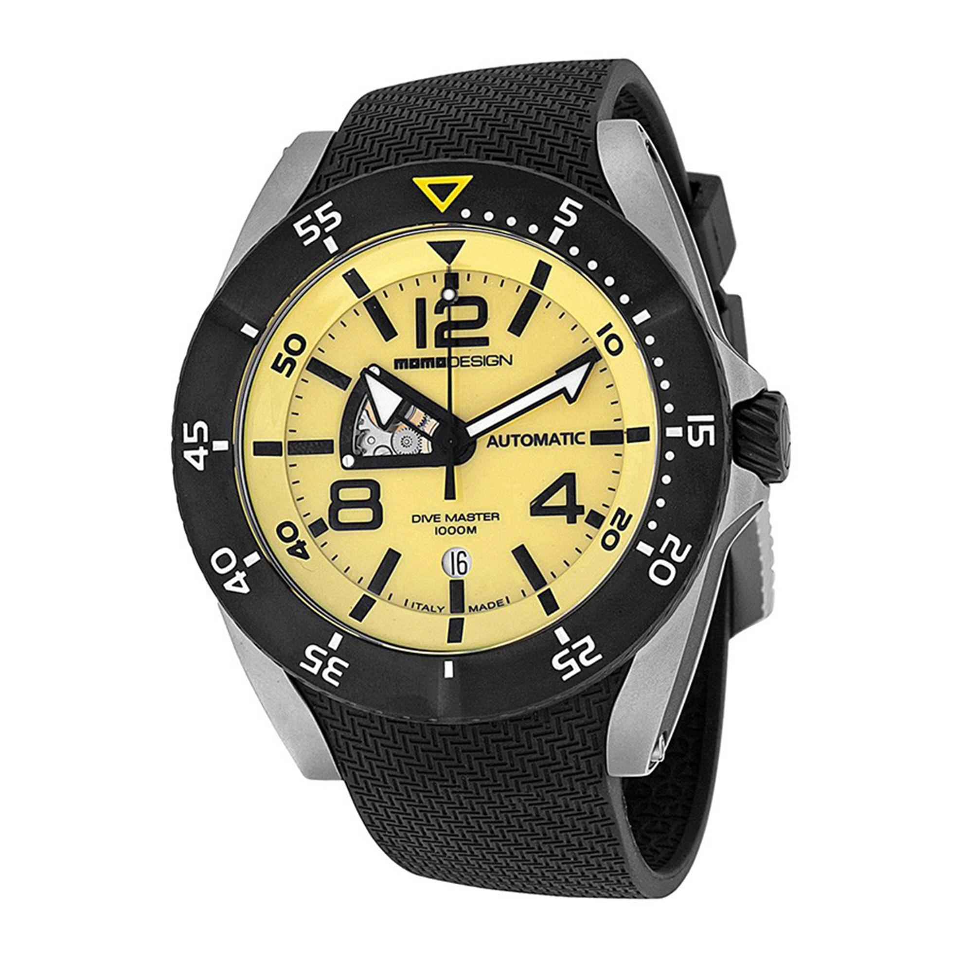 MOMO Design MD279SB21 Momo Design Dive Master Swiss Automatic Yellow Dial Rubber Strap
