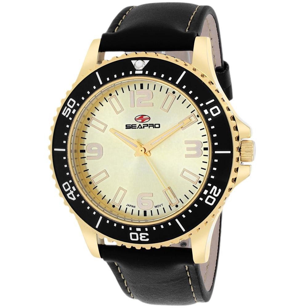 SP5315 Seapro Mens Tideway Black Band Gold Dial