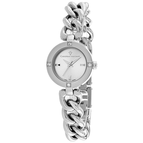 CV0210 Christian Van Sant Womens Sultry Silver Band Silver Dial