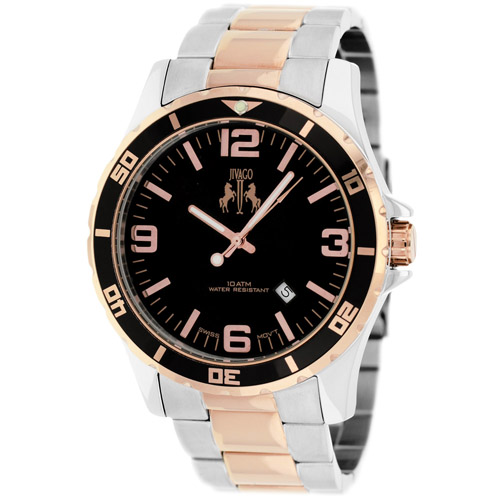 JV6118 Jivago Mens Ultimate Two-tone Silver Rose Gold Band Black Dial