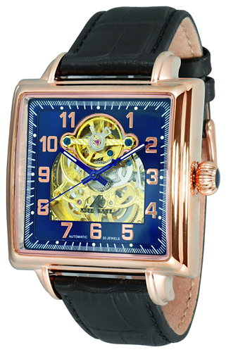 AK8022-MRG-BURG-BK Adee Kaye Mens Elegante Collection Lebauches 20 jewel automatic Rose tone Blue-rose gold Black Band Blue Dial