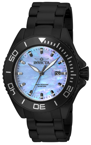 23069 Invicta Mens Pro Diver  Black Band Platinum Dial