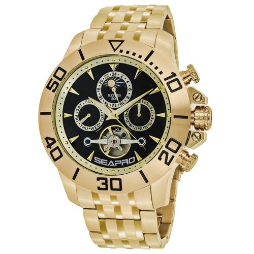 SP5131 Seapro Mens Montecillo Gold Band Black Dial
