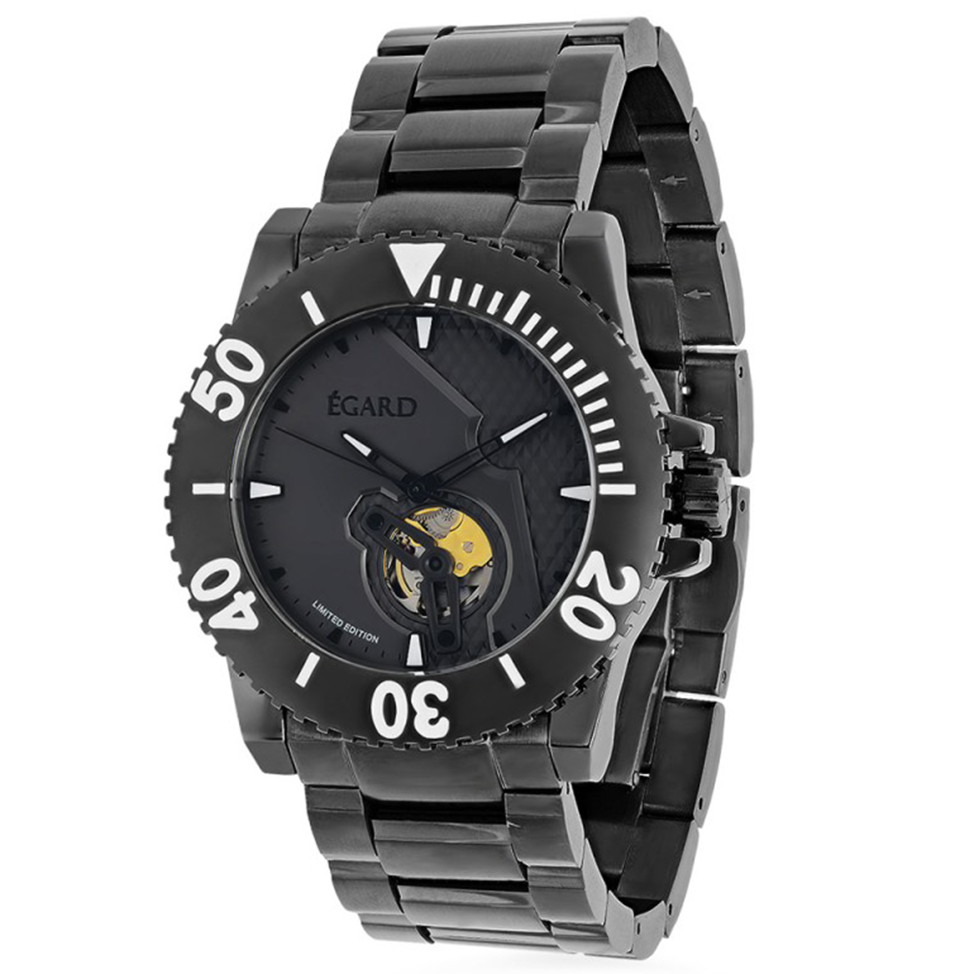 Egard WCH-CV175-C146 Egard Limited Edition Civil Automatic Open Heart Gunmetal Black Rubber Strap