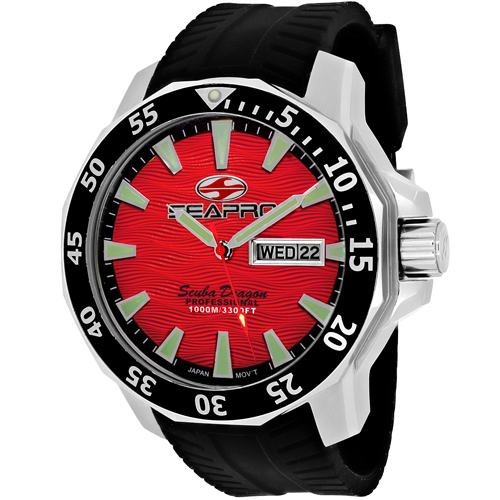 SP8317 Seapro Mens Scuba Dragon Diver Limited Edition 1000 Meters Black Band Red Dial