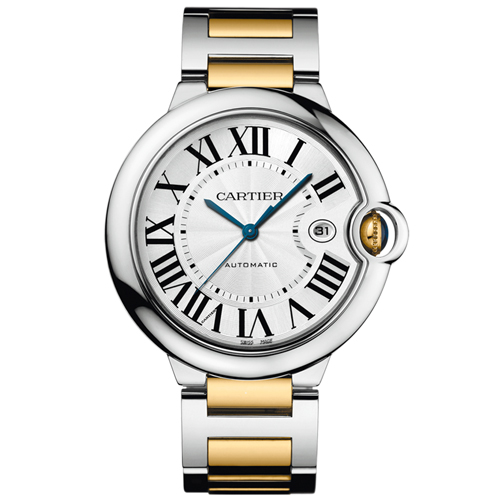 W69009Z3 Cartier Mens Ballon Bleu W69009Z3 Two-tone Gold, Silver Band Silver Dial