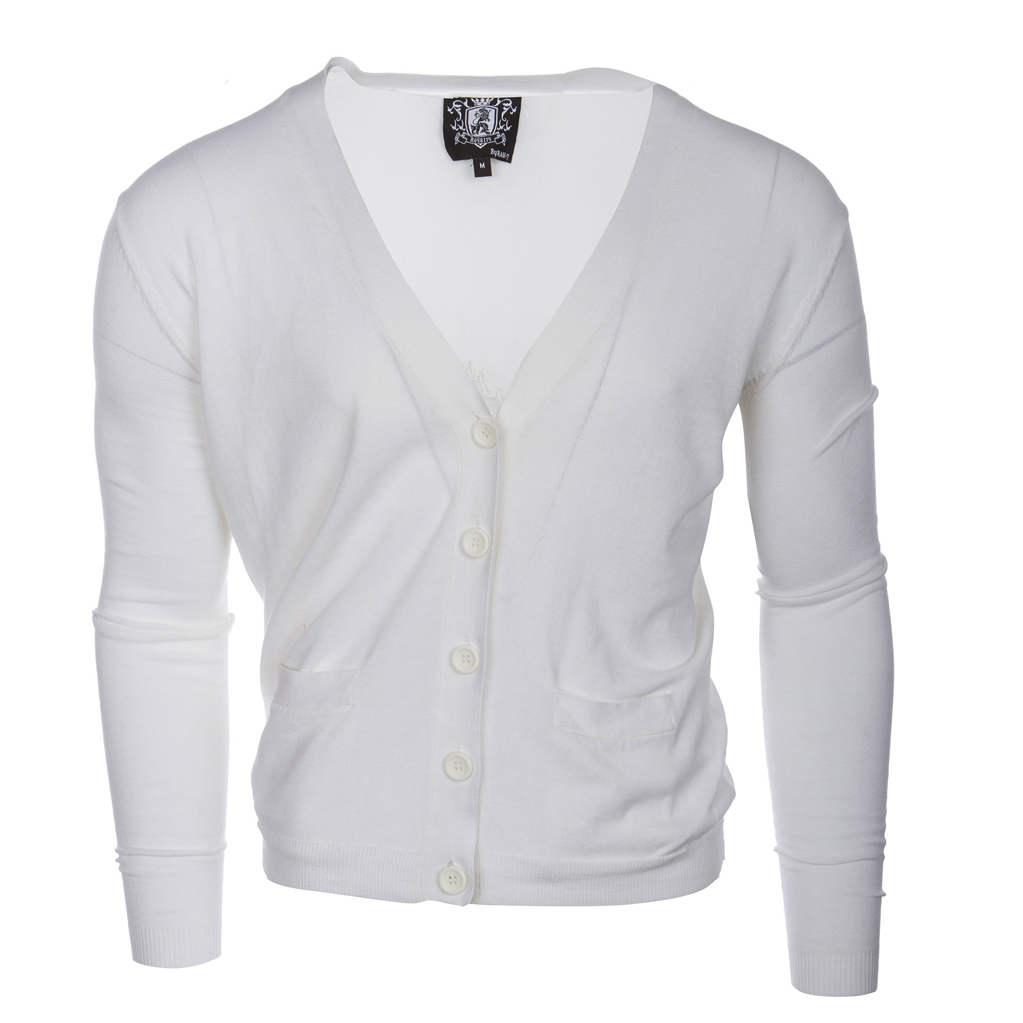 RAW 7 Y08A01S-WHITE Royalty by Raw7 Men's White Cardigan Eagles Design