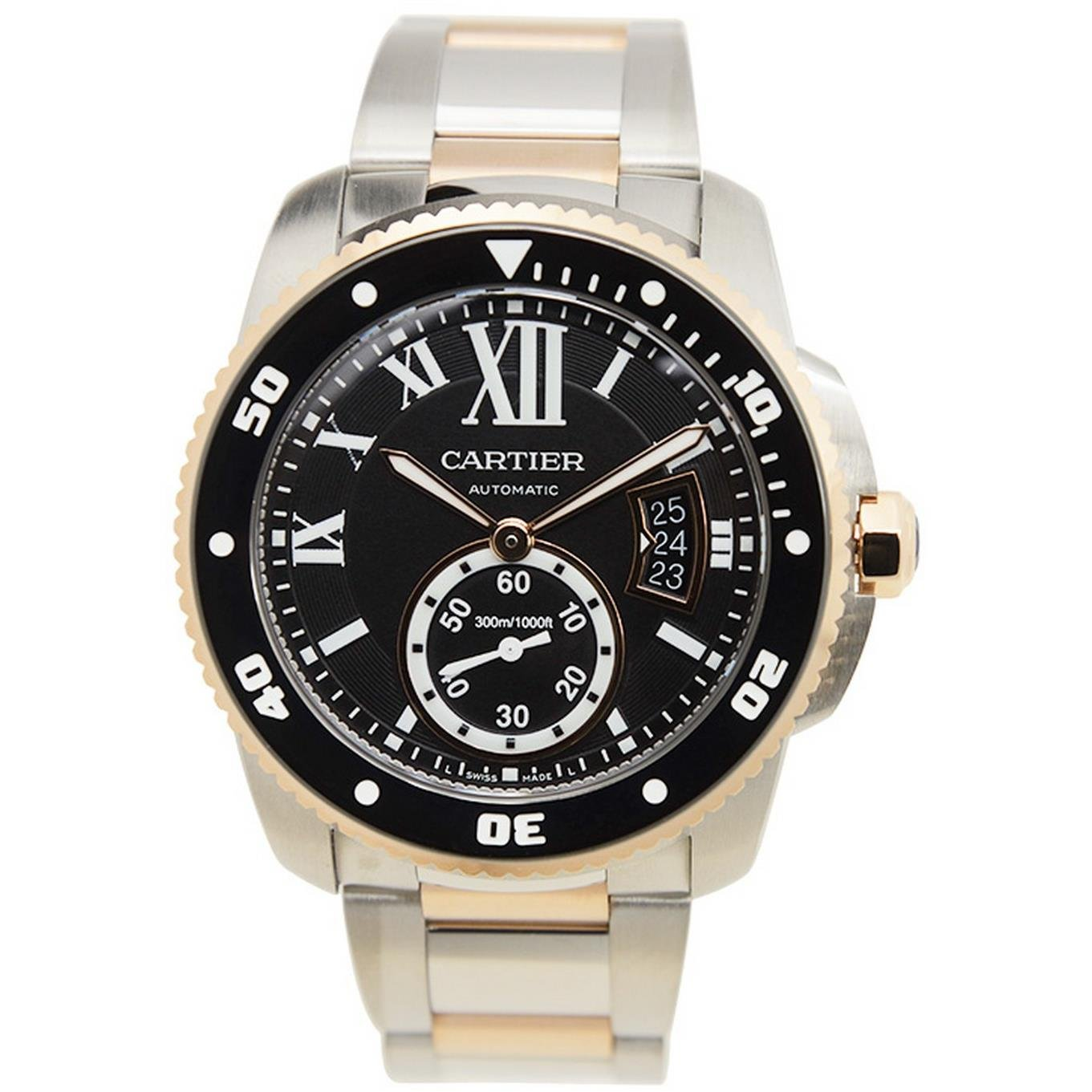 Cartier B00KVTZ8Q6 B00KVTZ8Q6 To US 12,498 UK £13,175 Cartier Men's Calibre De Cartier Diver Two Tone Steel Bracelet & Case Automatic Black Dial Watch W7100054