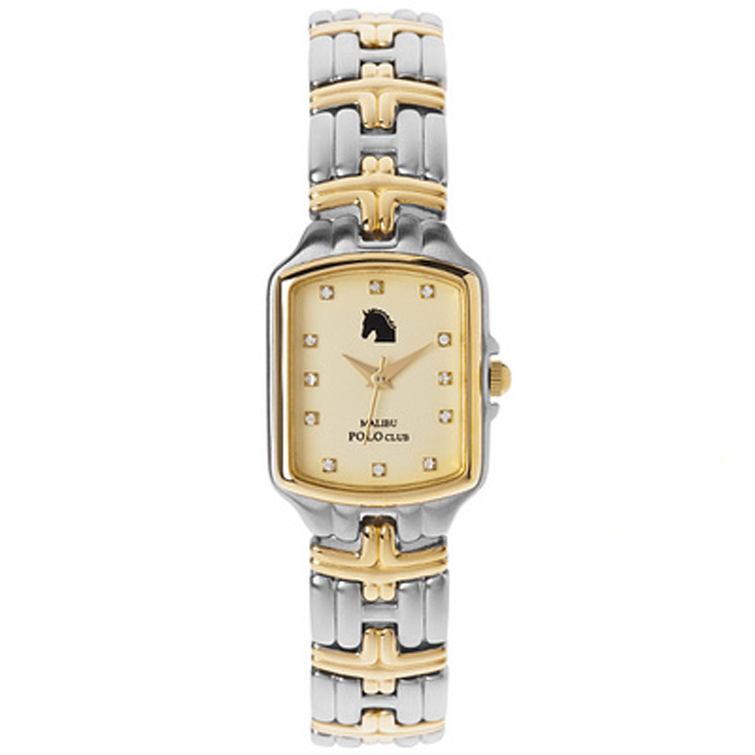 Malibu Polo Vchannel-MPCLB-Gold Malibu Polo Club Ladies Stainless Steel & 18k Yellow Gold Plated Diamond Tank Gold Dial