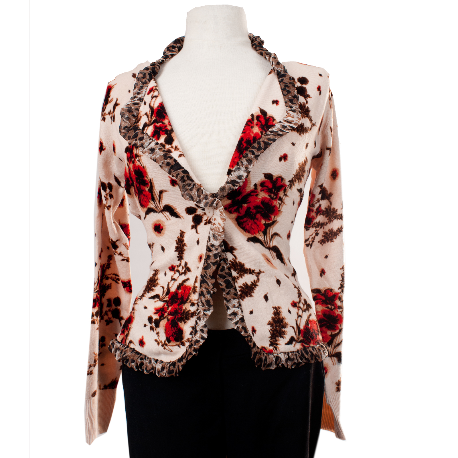 Till The End T09104-Ivory Till the End Ladies Ivory Cardigan w/ Red Flower Print