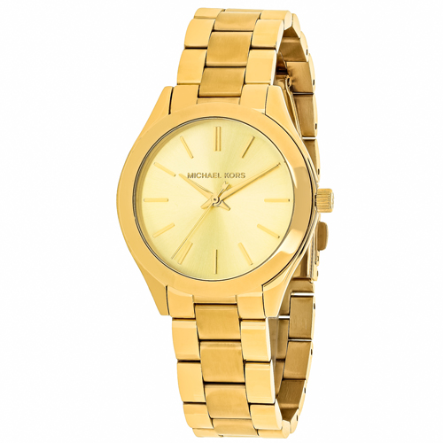 MK3512 Michael Kors Womens Slim Runway Quartz Gold Band Gold Dial