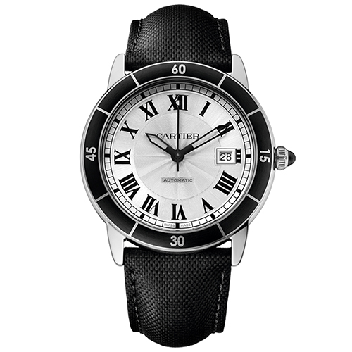 WSRN0002 Cartier Mens Ronde Croiseire WSRN0002 Automatic Black Band Silver Dial