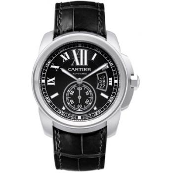W7100041 Cartier Mens Calibre W7100041 Swiss Automatic Black Band Black Dial