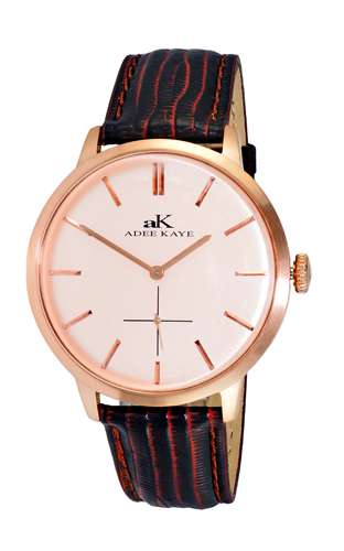 AK2225-MRG-RG Adee Kaye Mens Classique Collection  quartz Rose tone Salmon Band Rose Gold Dial