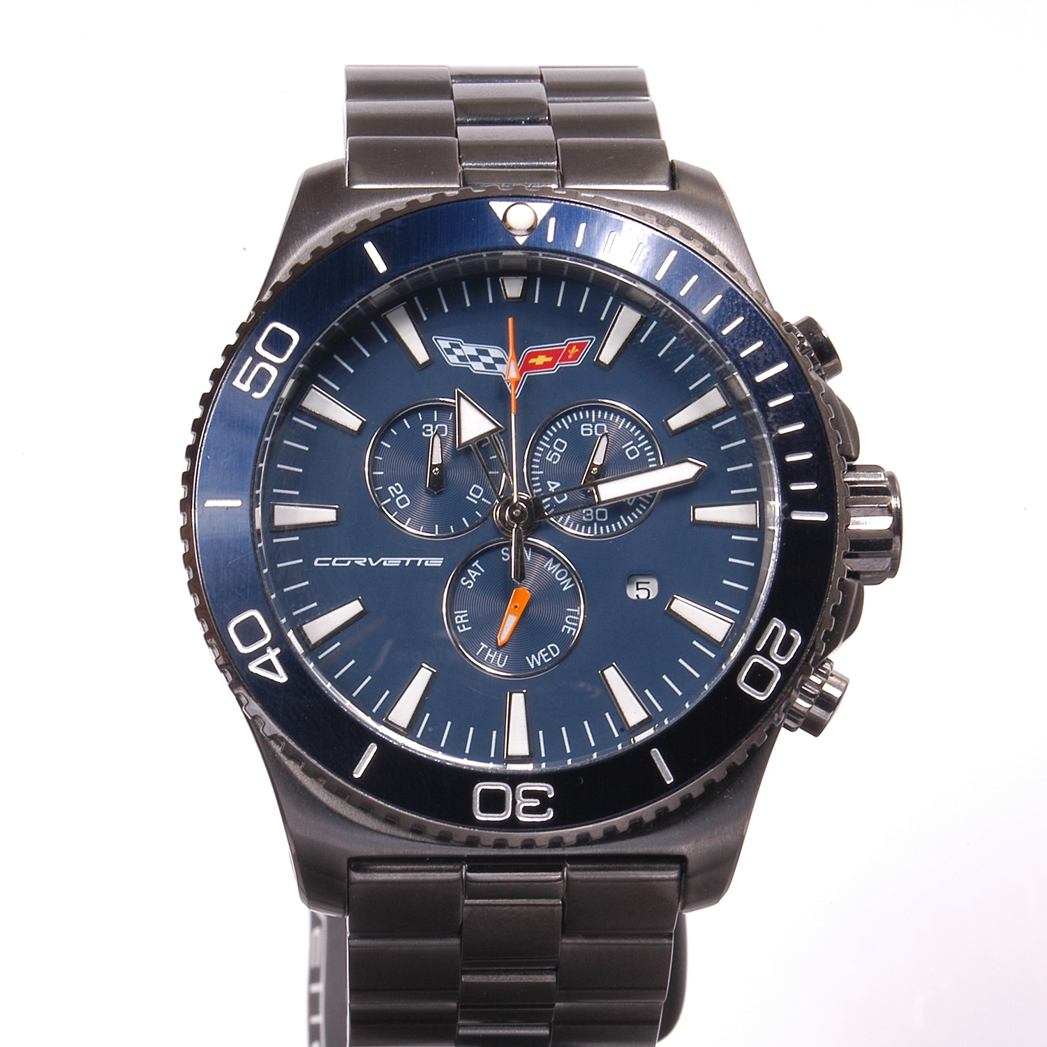 AKCR-215-GUN Corvette 215 Swiss Chrono Collection IP Gun Blue Dial