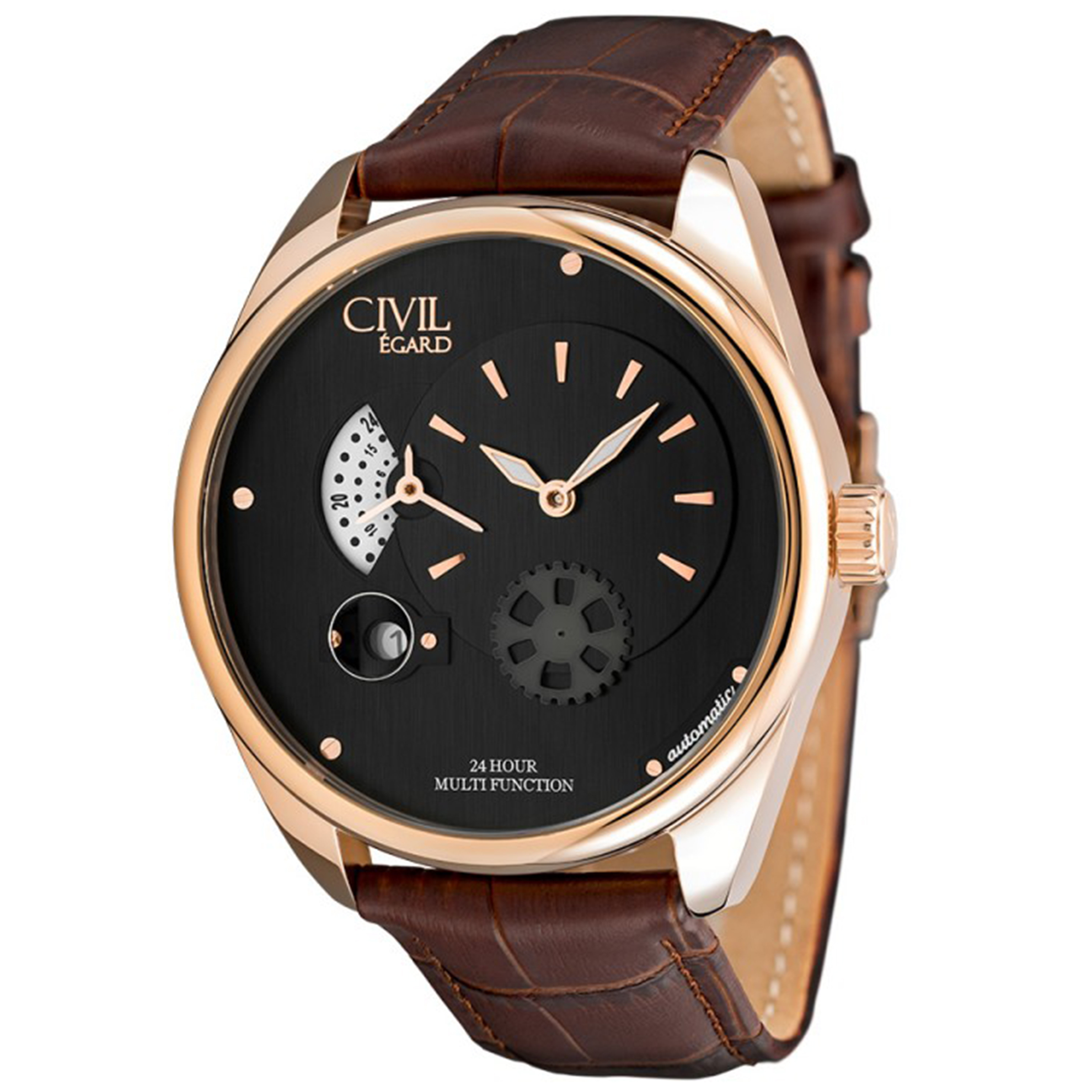 Egard CVL-VNT-ROS Egard Multifunction Automatic Rose Gold Black Dial Brown Leather Strap