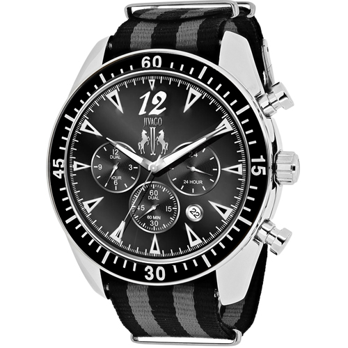 JV4511NBK Jivago Mens Timeless Black & Grey Band Black Dial