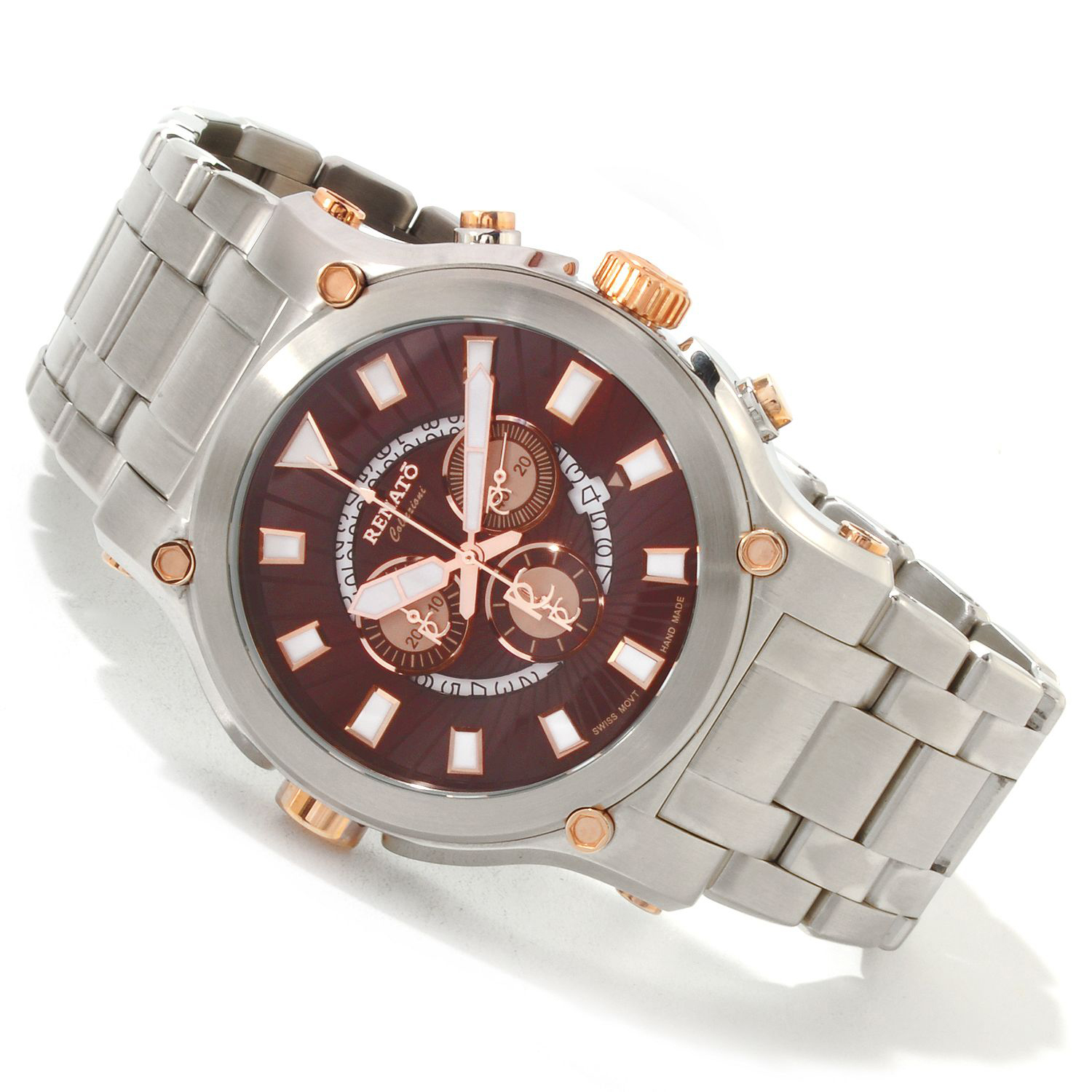 Renato 50CSR-BR-50CSR-5040D Renato Robusto 50 Swiss Chronograph Stainless Steel Brown Dial