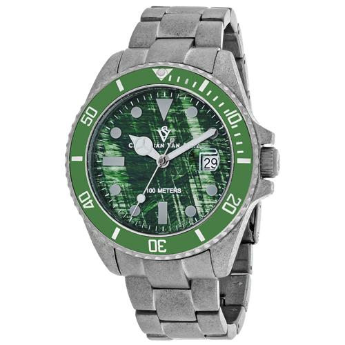 CV5102B Christian Van Sant Mens Montego Vintage Silver Band Green Dial