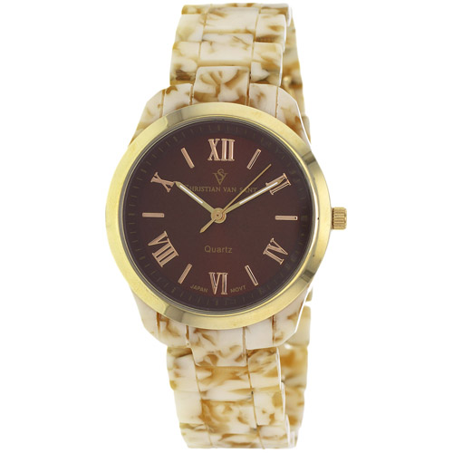 CV3412 Christian Van Sant Womens Granite Quartz Marble Beige Band Brown Dial