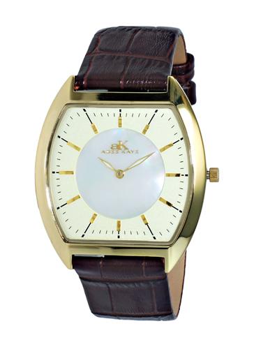 AK2200-MGG Adee Kaye Mens Slim Tonneau Collection  quartz Gold tone Gold-white Band White Dial