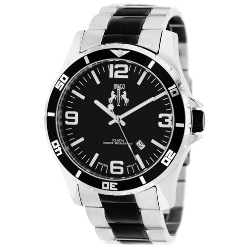 JV6119 Jivago Mens Ultimate Two-tone Silver Black Band Black Dial