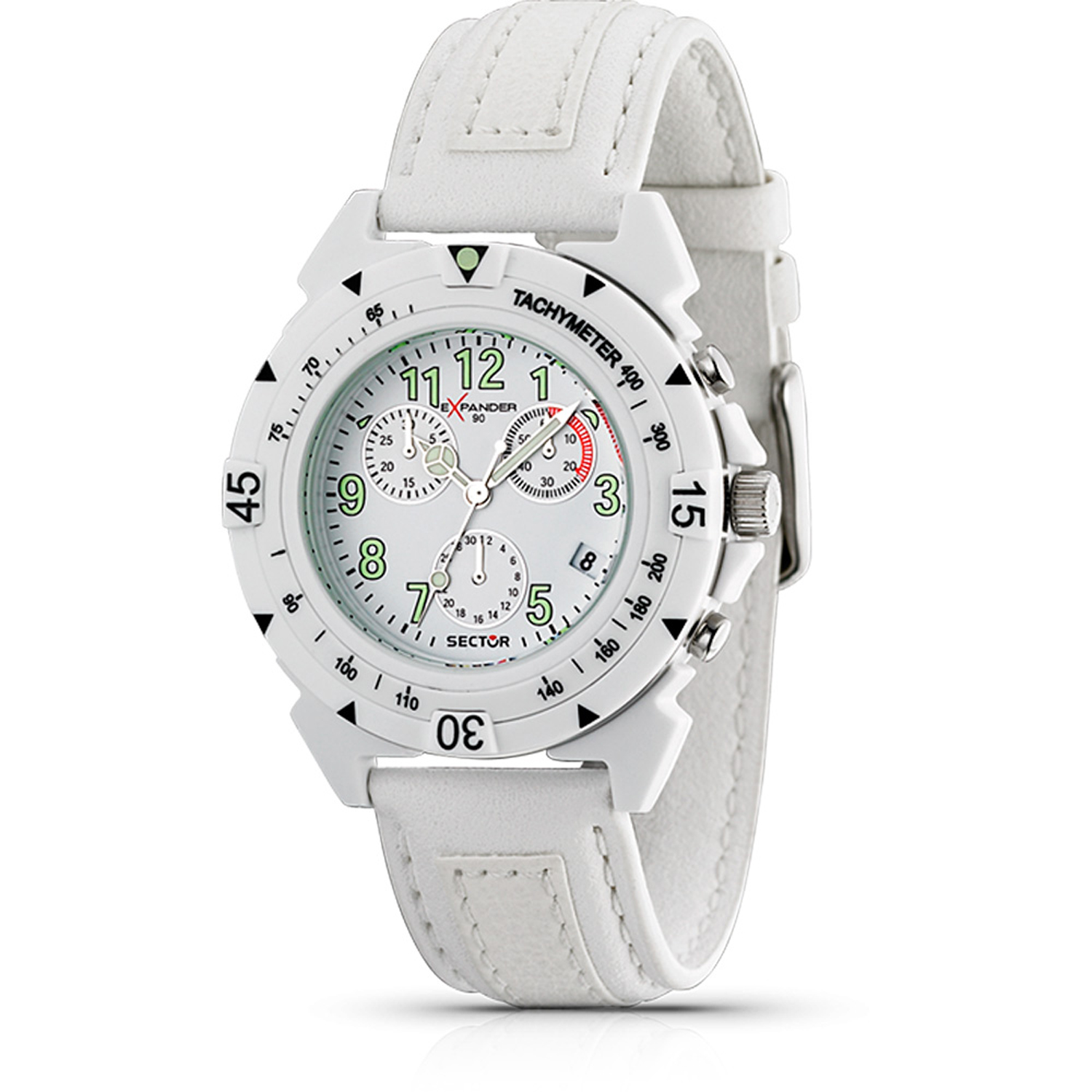 Sector 3271697045 Sector Expander Swiss Chronogrpah Watch Dial White Leather Strap