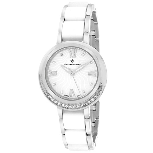 CV7610 Christian Van Sant Womens Eternelle Two-tone Silver White Band White MOP Dial