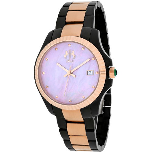 JV3212P Jivago Womens Jolie Black Rose gold tone Band Pink MOP Dial