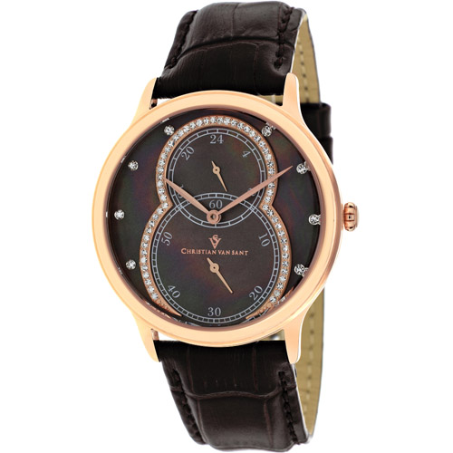CV5413 Christian Van Sant Ladies Infinie Rose Gold Brown MOP Dial Leather Strap