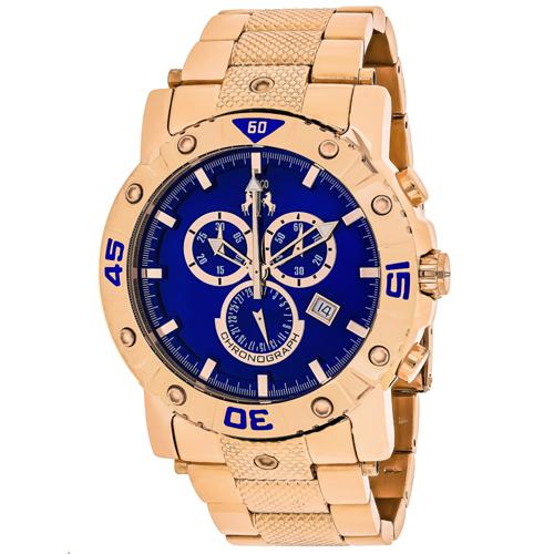 JV9126XL Jivago Mens Titan Rose gold Band Blue Dial
