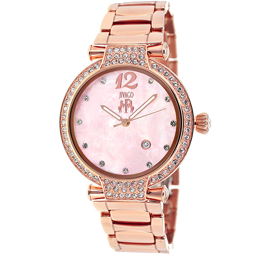 JV2219 Jivago Womens Bijoux Rose Gold Band Pink MOP Dial