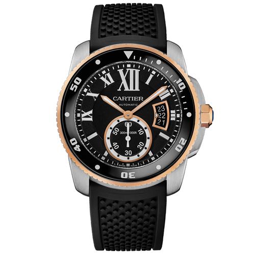W7100055 Cartier Mens Calibre De Cartier W7100055 Automatic Black Band Black Dial