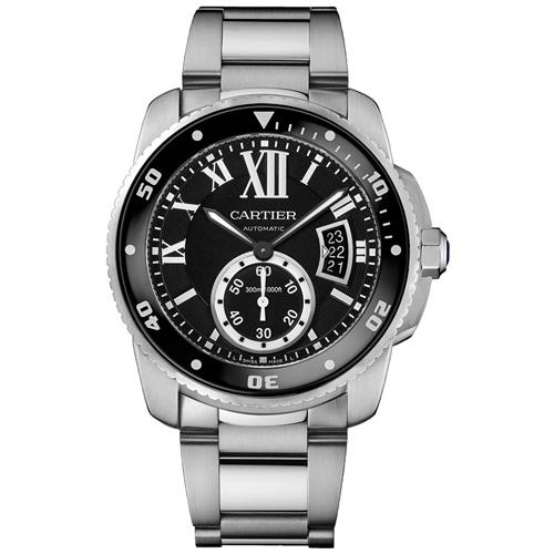 W7100057 Cartier Mens Calibre De Cartier W7100057 Automatic Silver Band Black Dial