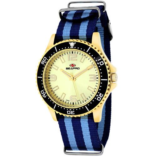 SP5419NBL Seapro Womens Tideway Black Blue Band Gold Tone Dial