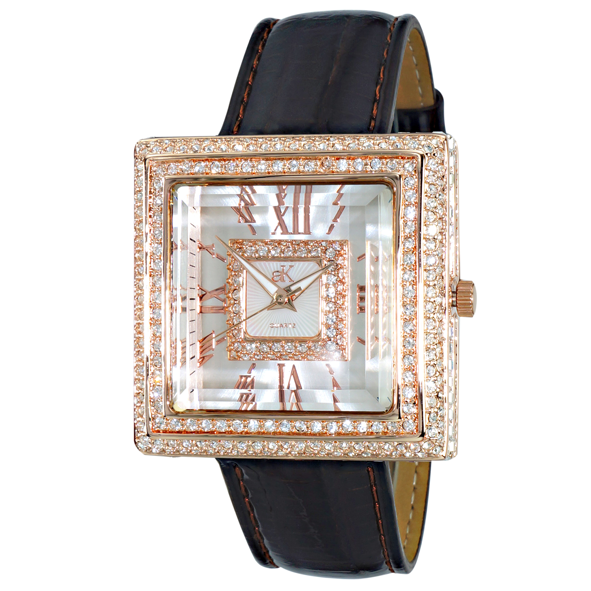 Adee Kaye AK25-LRG Adee Kaye Ladies Milan Collection 370 Austrian Crystals Rose Gold Black Leather Band