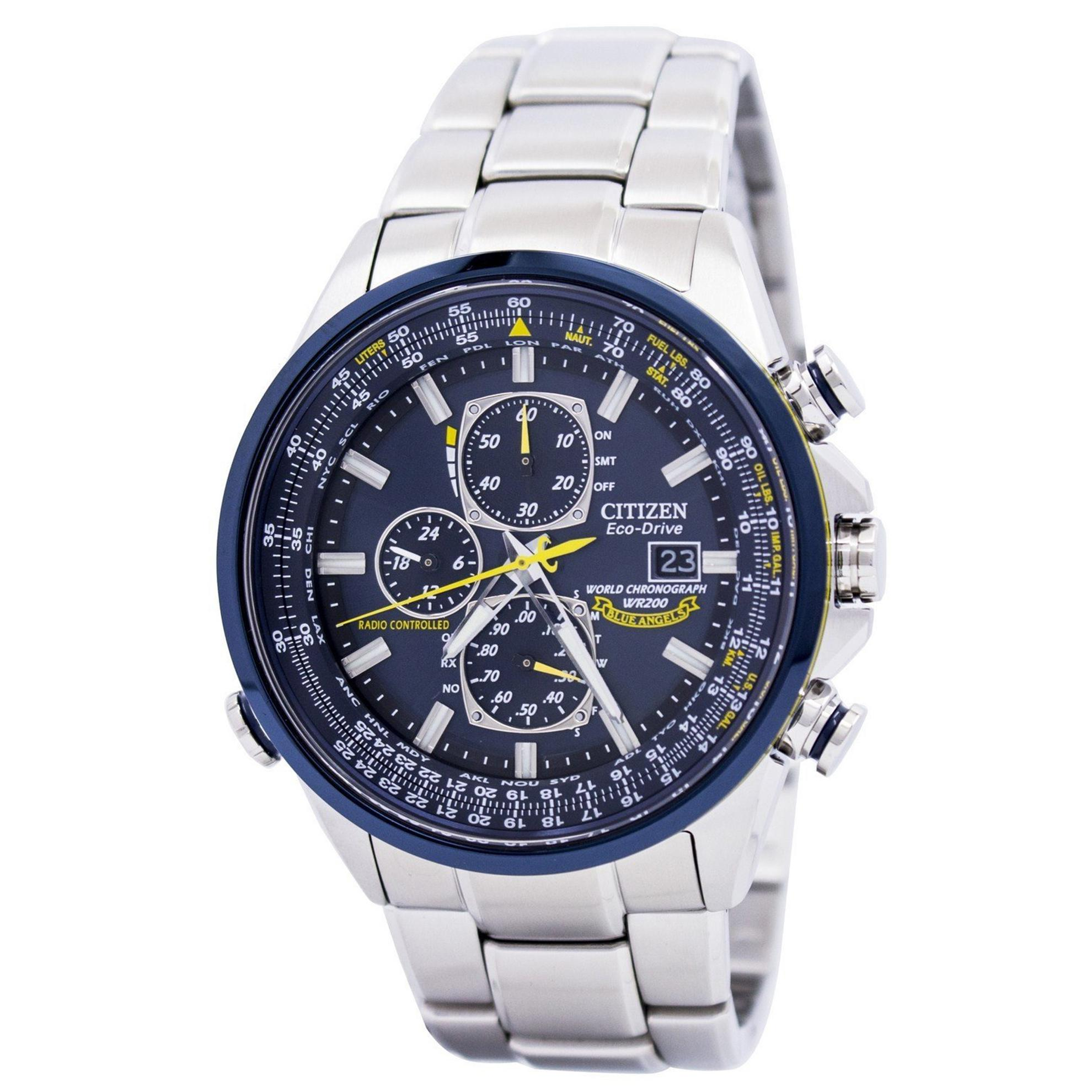 Citizen AT8020-54L Citizen Eco-Drive Blue Angels World Chronograph Stainless Steel Blue Dial