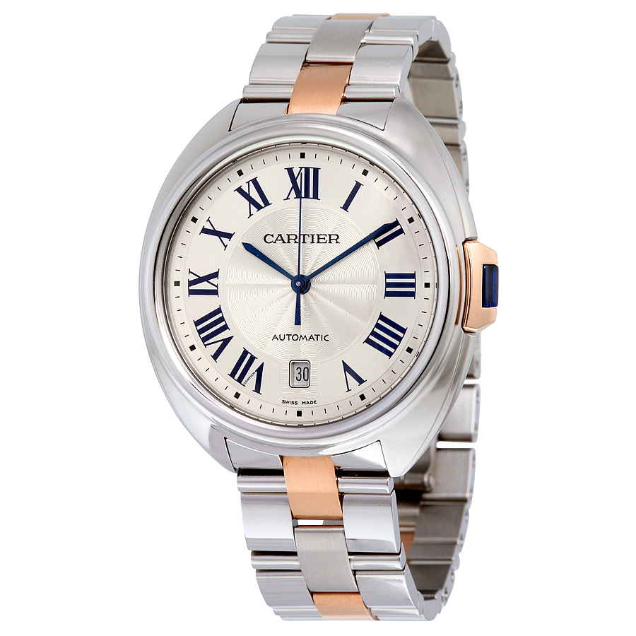 W2CL0002 Cartier Mens Cle De Cartier W2CL0002 Automatic Two-tone Silver and Rose Gold  Band Silver Dial