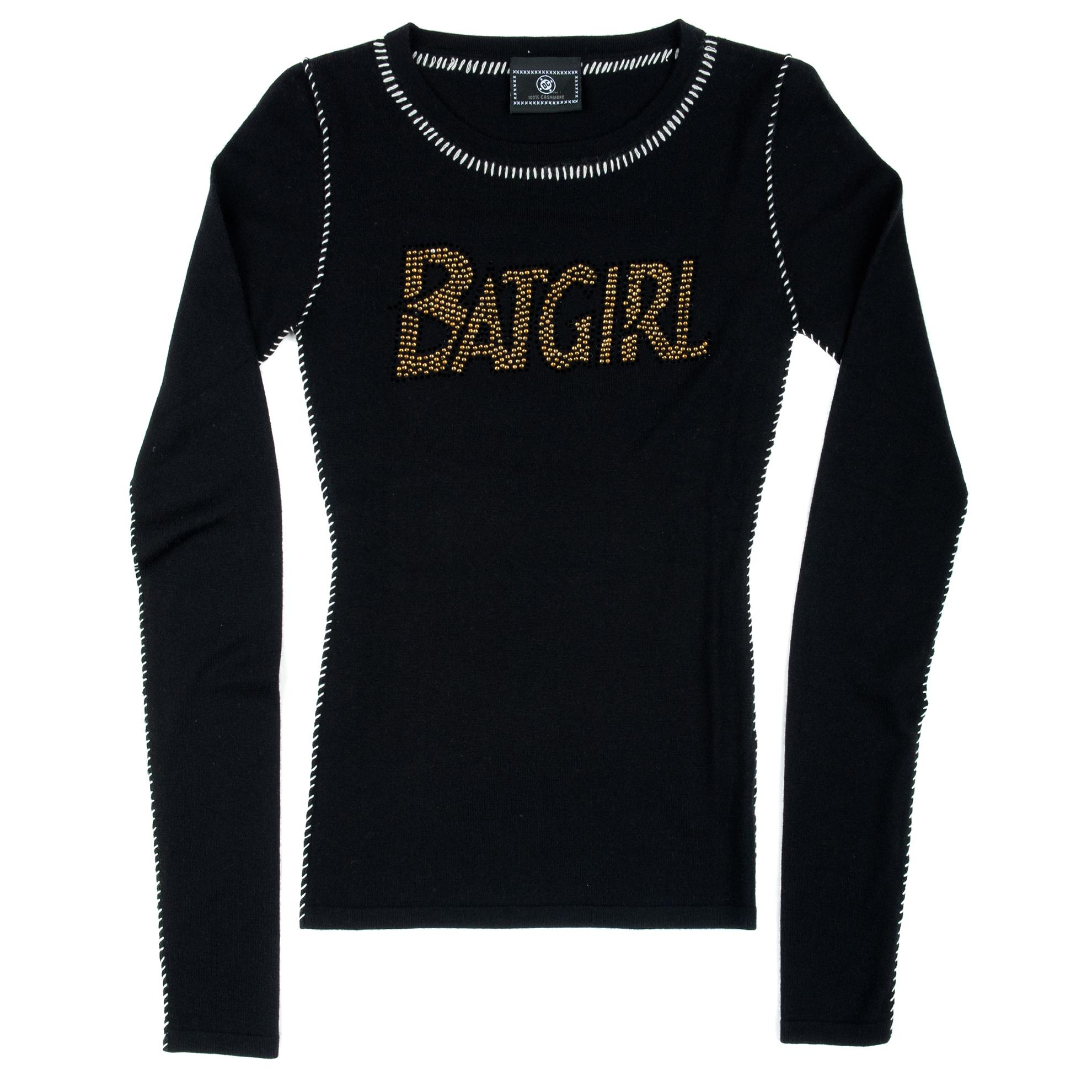 15-PCSH167 DC Comics 100% Cashmere Yellow Beaded BATGIRL Designer Sweater Black