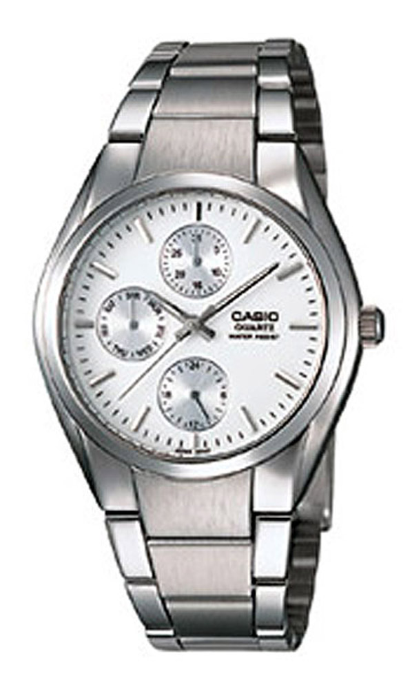 MTP-1191A-7A Casio Mens Quartz Silver Band White Dial