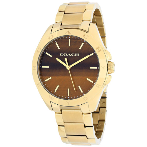 14502053 Coach Womens Tristen Quartz Gold tone Band Brown Dial