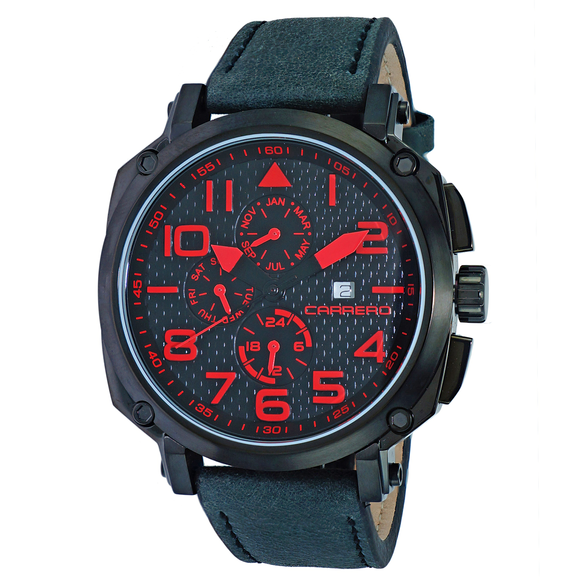 Carrero 9EA141N01 Carrero Special Edition Swiss Multi-Function Red/Black Textured Dial Black Leather Strap