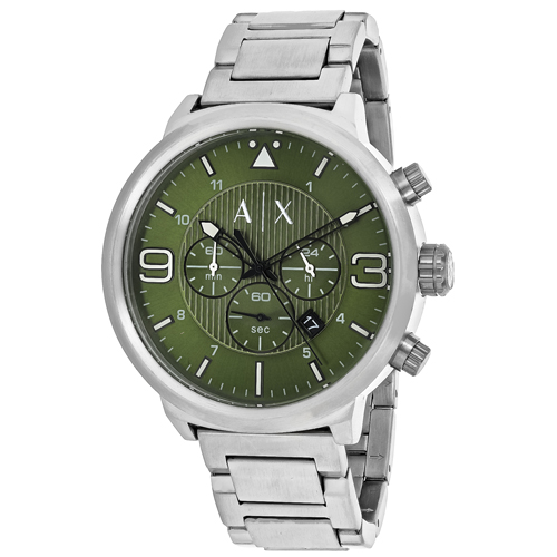 AX1370 Armani Exchange Mens ATLC AX1370 Quartz Silver Band Green Dial