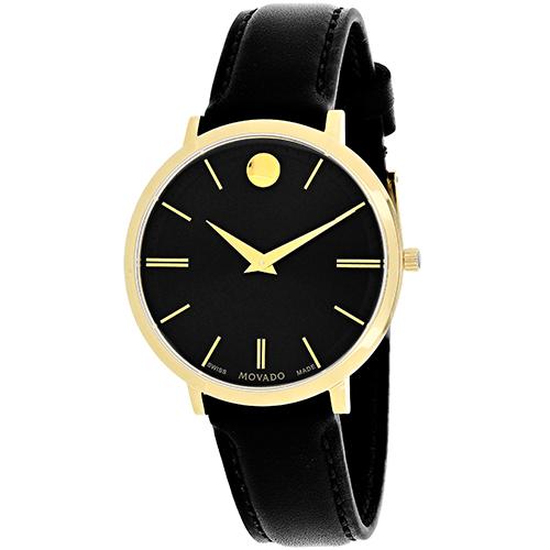 607091 Movado Womens Ultra Slim 607091 Black Band Black Dial