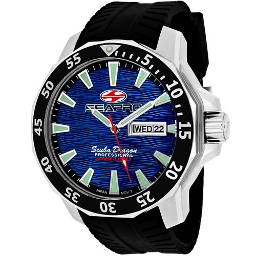 SP8316 Seapro Mens Scuba Dragon Diver Limited Edition 1000 Meters Black Band Blue Dial