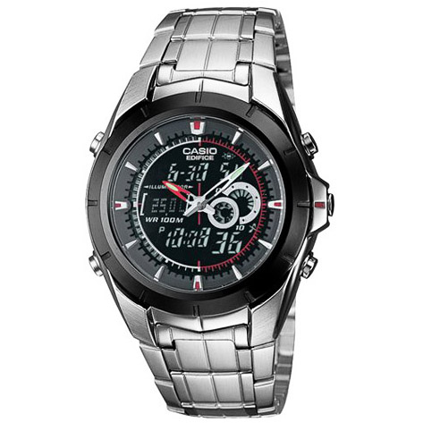 EFA-119BK-1AV Casio Mens Ana-Digi Edifice Quartz Silver Band Digital Dial
