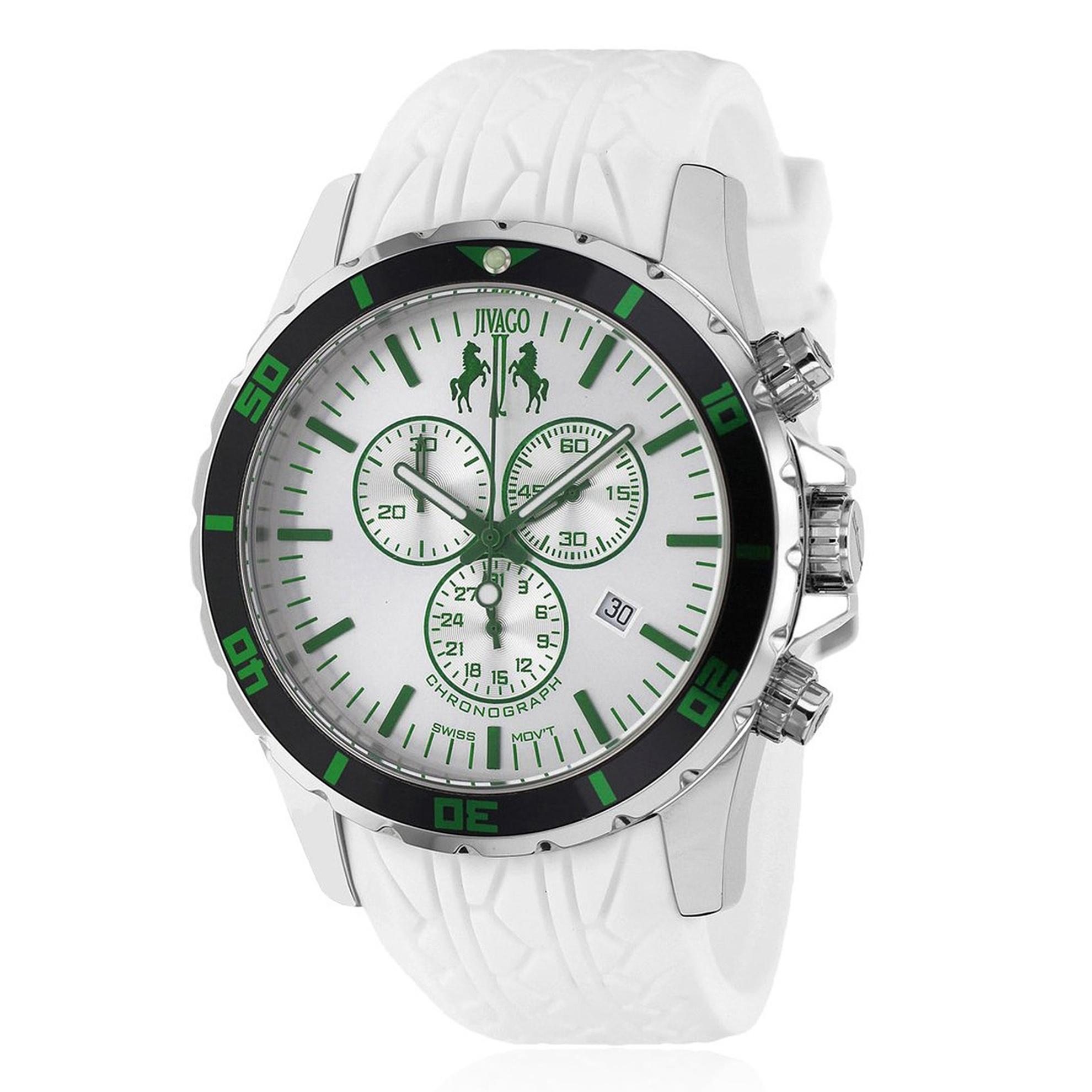 Jivago JV0126 Jivago Men's Ultimate Sport Chronograph White/Green White Rubber Strap