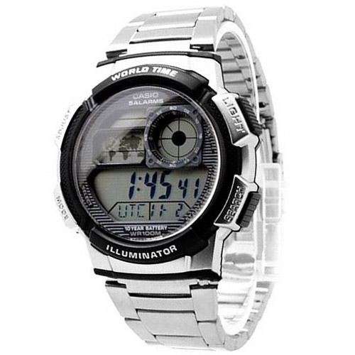 AE-1000WD-1AV Casio Mens Classic Quartz Silver Band Digital Dial